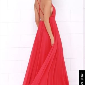 Red full length Lulus dress